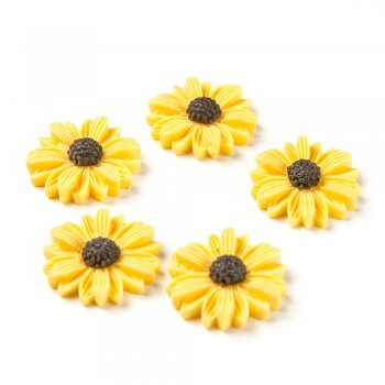 Цветок. Пластиковый клеевой элемент, желтый, 21 мм
