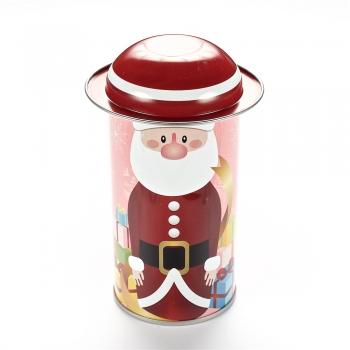 Коробочка жерстяна 11,6х5,4 см Дід Мороз червона шапочка