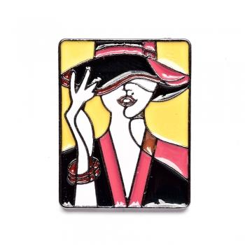 Значок пин Девушка в шляпе