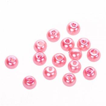 Перли скляні гладкі світло-рожевий