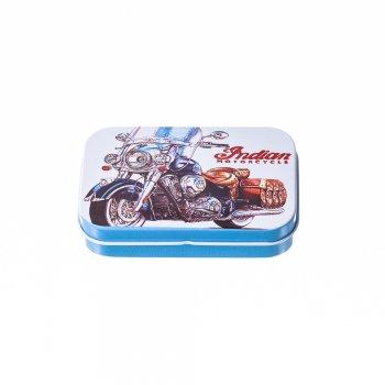 """Коробочка жестяная прямоугольная """"Мотоциклы"""" 10х6х2см"""