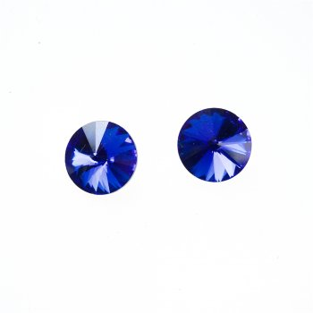 Стразы стеклянные вставные. Синий. Диаметр 14 мм.