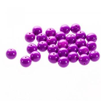 Бусина стеклянная 14 мм фиолетовая