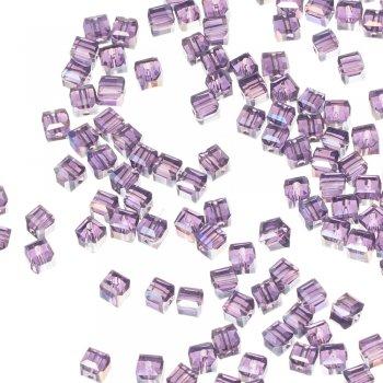 Хрустальная бусина в форме куба 4 мм фиолетовая радужная