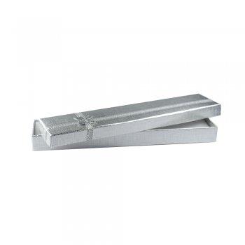 Коробочка картонна подарункова срібляста 21*4,5*2 см