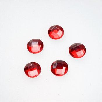 Стрази скляні клейові. Червоний. Діаметр 10 мм.