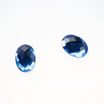 Стразы стеклянные клеевые. Голубой.  Длина 14 мм, ширина 10 мм.