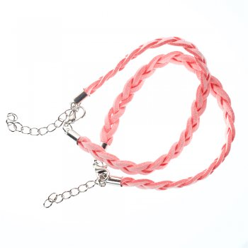 Готові основи для браслета замшеві плетені кіски. Рожевий. Довжина 23 см, ширина 6 мм.