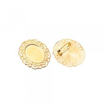 Основа для брошки овальна клейова, золото, 40х35 мм