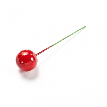 Декор красная ягода на проволоке 15 мм