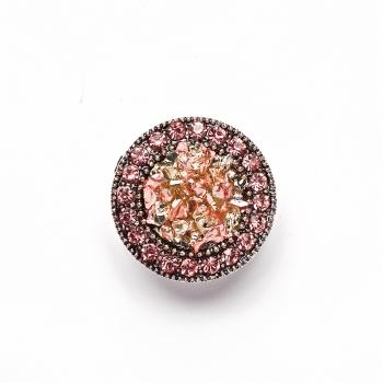 Бусина кнопка SNAP круглая с розовыми стразами
