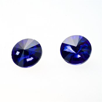 Стрази скляні вставні. Синій. Діаметр 16 мм.
