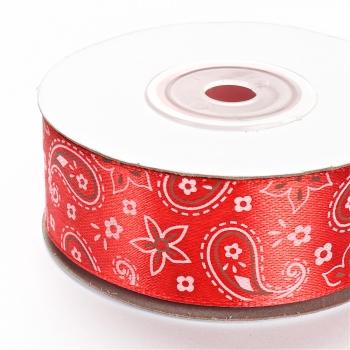 Лента атласная 25 мм с орнаментом красная