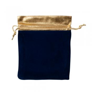 Декоративний мішечок оксамитовий 15х12 см синьо-золотий