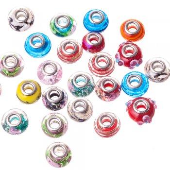 Намистина шарм скляна, мікс кольорів, 15 мм