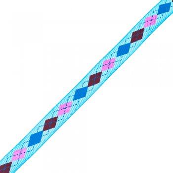 Стрічка репсова 15 мм блакитна з ромбоподібним візерунком