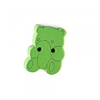Медведь, пуговица деревянная, зеленая, 14х19 мм