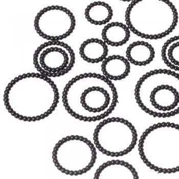 Кольцо маленькое, пластик одноцветный черный, 25 мм