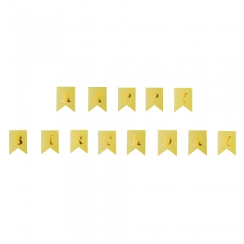 Паперова гірлянда happy birthday жовта