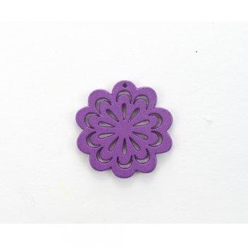 Дерев'яна підвіска Квітка ажурна Фіолетова