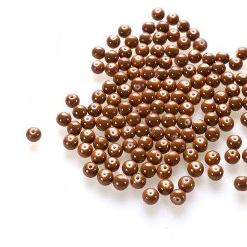 Бусина из опакового стекла, коричневая, 8 мм