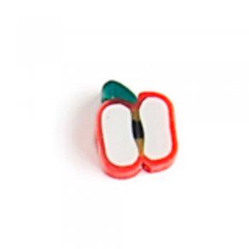 Червоне яблуко. Намистина з полімерної глини,10 мм