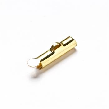 Зажимы для шнуров и каучука. Золотой. Диаметр 13 мм, размер отверстия 1 мм.