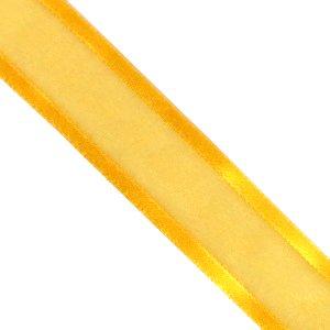 Лента из органзы с атласными краями 25 мм желтая