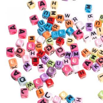 Бусины-буквы, пластик , микс цветов. 7 х 7 х 7 мм.