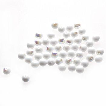 Чешские стеклянные бусины белый опаковый радужный круглая