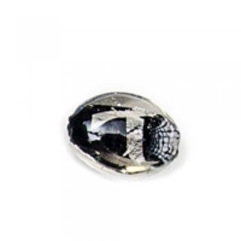 Скляна овальна намистина з фольгованим покриттям, чорна, 20 мм