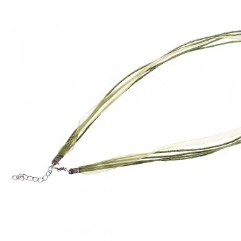 Основа для кулона Четыре хлопковых шнура и зелёная лента из органзы