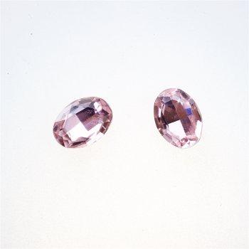 Стрази скляні вставні, рожеві, 13х10 мм