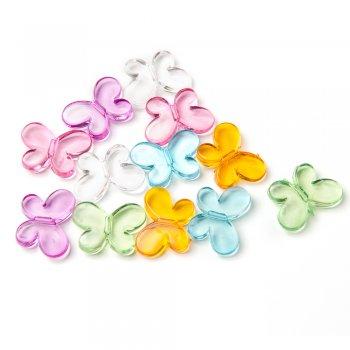 Пластиковые кристаллы. Микс цветов. Бабочки, 12х18 мм