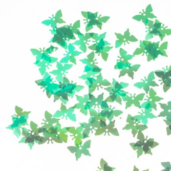 Пайетки бабочки, салатовый, 12 мм