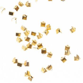 Затискачі для стрічок золото 6 мм