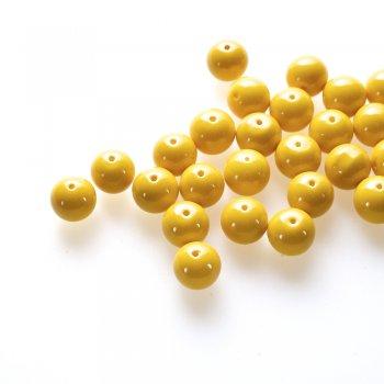Скляна намистина, жовта, 14 мм