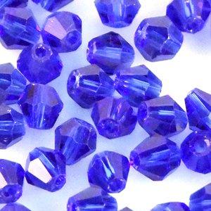 Кришталева намистина біконус 4 мм синя прозора