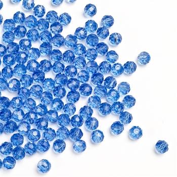 Хрустальная бусина круглая 6 мм голубая  прозрачная