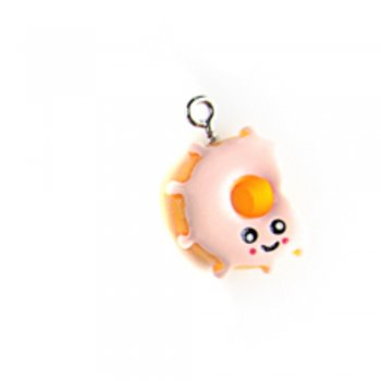 Пончик персиковый. Подвески из полимерной глины микс цветов сладости